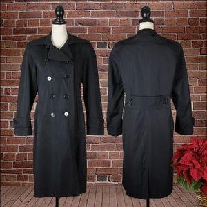 Jones New York Chic Black Trench Coat Size Medium